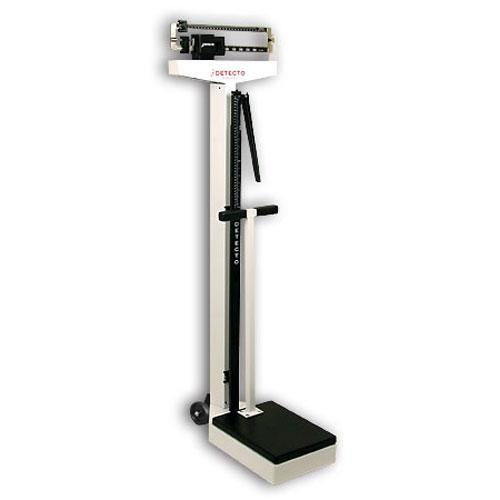 Detecto 448 Mechanical Eye-Level Physician Scale with wheels -height rod  - handpost 400 lb x 4 oz