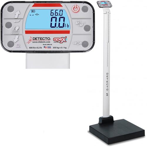 Detecto APEX-UWA-AC Physician Scale With Mechanical Height Rod AC adapter and Welch Allyn CVSM/CSM 600 x 0.2 lb