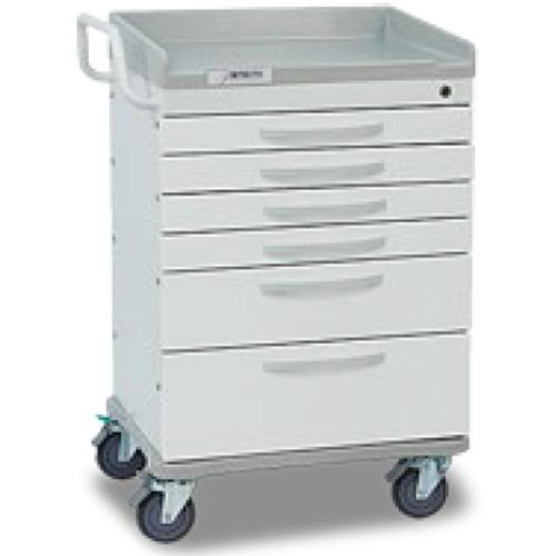 Detecto WC333369WHT WHISPER General Purpose Utility Cart 6 Drawers