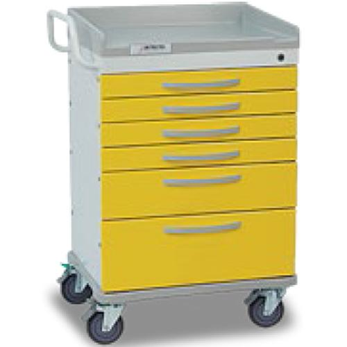 Detecto WC333369YEL WHISPER Isolation Medical Cart 6 Drawers