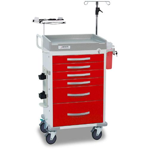 Detecto RC33669RED-L Rescue Emergency Room Carts 5 Drawers (Red)