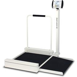 Detecto medical wheelchair scale - Detecto 6495 digital wheelchair scales offer the speed and increased accuracy that only electronic digital weighing can provide - weight in pounds or kilograms at the press of a button.