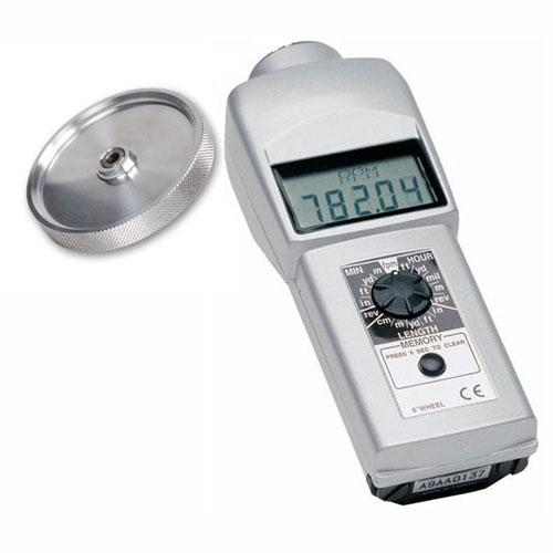 Shimpo DT-105A-12KMW Contact Style Digital Handheld Tachometer, LCD, 12in Circumference Knurled Aluminum Wheel