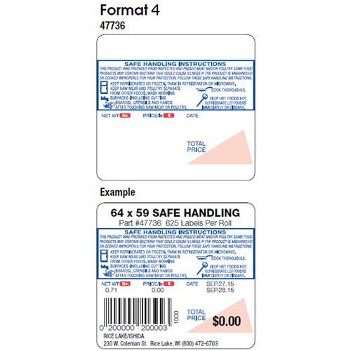 Ishida 47733 Format 4 625 Labels Safe Handling Per Roll 64 X 59 Mm