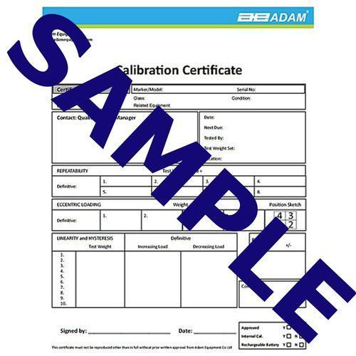 Adam Equipment 700660289 Calibration Certificate