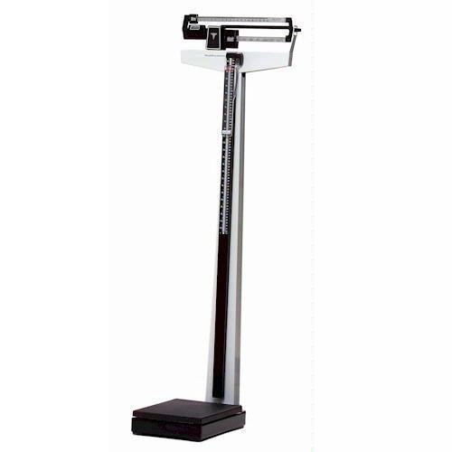 Health O Meter 402LBWH Mechanical Beam Physicians Scale with Height Rod and Wheels - 390 x 1/4 lb
