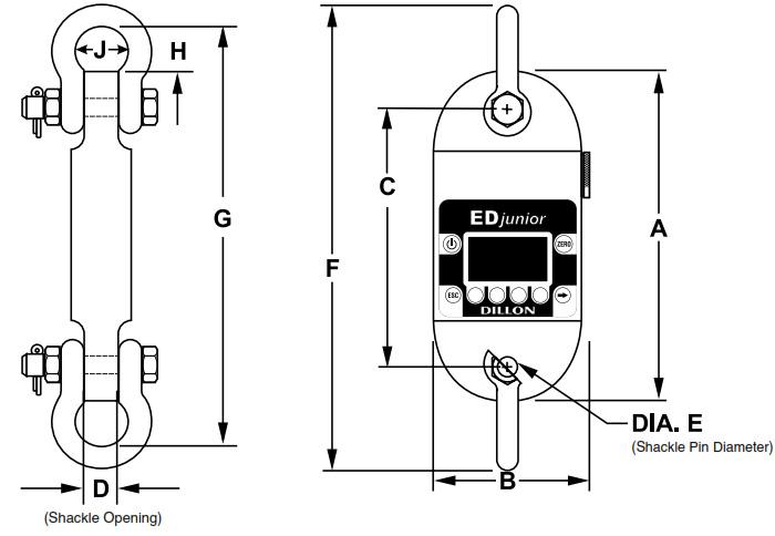 Dillon EDjr-iT(2.5K) AWT05-506317 Dynamometer, w/2